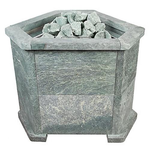 Электрическая печь для бани и сауны КРИСТИНА Premium  угловая в каменной облицовке (талькомагнезит)