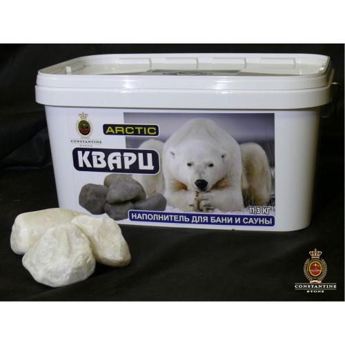 Камень для бани и сауны ARCTIC Кварц Снежный (11,3 кг) (Ограненный по технологии галтования)
