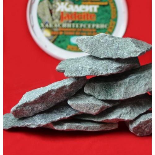 Камень для бани и сауны Жадеит некалиброванный плоский 18 кг.