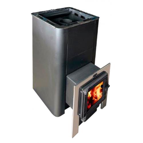 Печь банная  Олимп 14-18 (с парогенератором, с чугунной дверцей со стеклом)