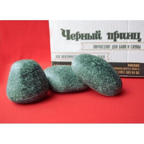 Камень для бани и сауны Пироксенит шлифованный Черный принц мелкий 5 кг.