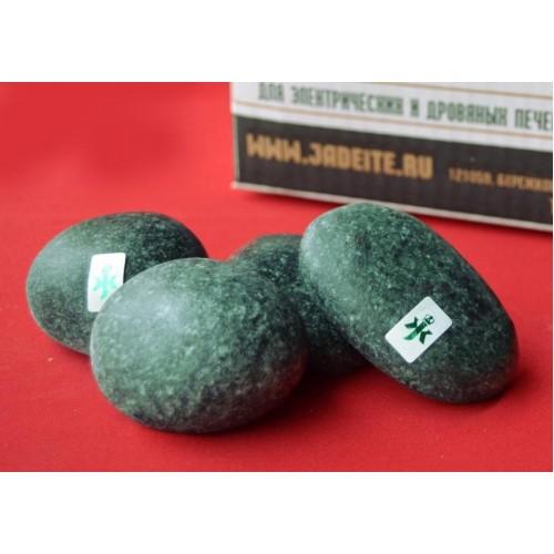 Камень для бани и сауны Пироксенит шлифованный Черный принц средний 20 кг.