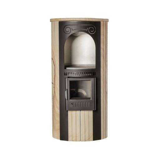 Печь отопительно-варочная «Лада» в облицовке «Ламель» - Окаменевшее дерево
