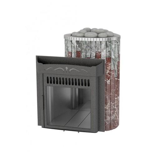 Печь Ферингер Мини До 16 м³ - Облицовка Жадеит + Россо Леванте - Обрамление Металл