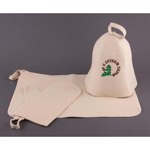 Набор для бани и сауны (шапка с вышивкой, рукавица, коврик)